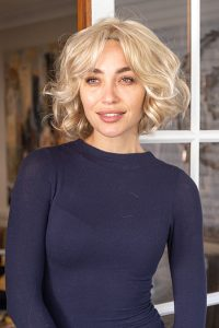 Tumbled waves synthetic lace front wig